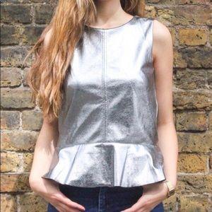H&M silver metallic peplum top size xxs